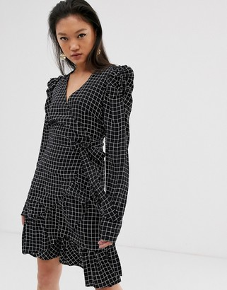 Gestuz Denice check print wrap mini dress with puff sleeves