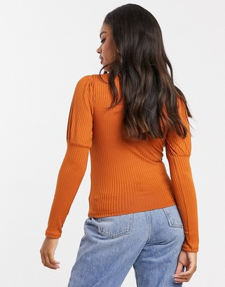New Look ribbed puff sleeve top in ginger