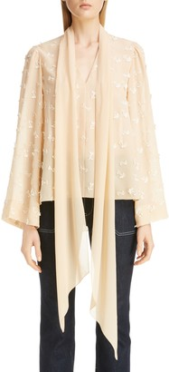 Chloé Floral Applique Tie Neck Silk Blouse