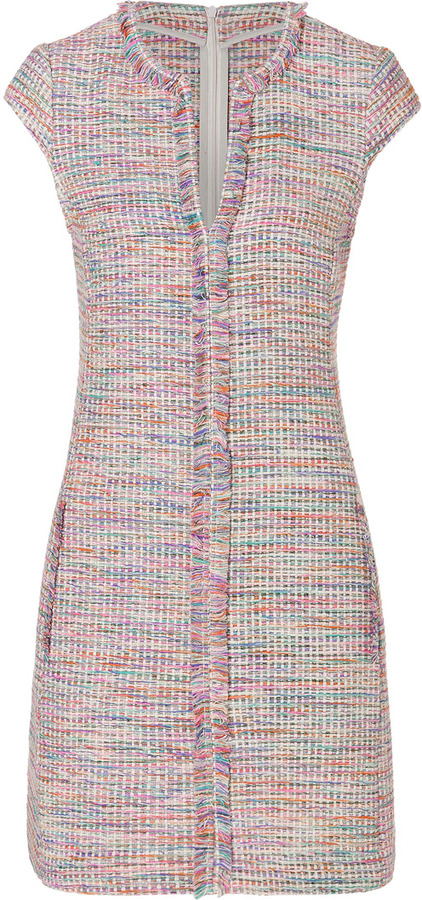 L'Agence LAgence Silk-Cotton Cap Sleeve Dress in Guatemalteco Weave
