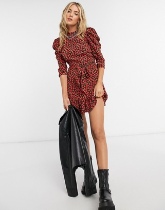 Topshop rose print mini dress red