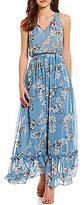 Lucy Paris Blue Floral Sleeveless Maxi Dress