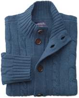 Indigo Lambswool Cable Cardigan Size Large by Charles Tyrwhitt