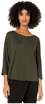 Eileen Fisher Fine Tencel Jersey Wide V-Neck 3/4 Sleeve Box Top (Black) Women's Clothing