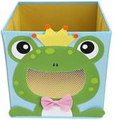 NEWSTYLE Foldable Kids' Toy Storage Bin Box - Cartoon Children Toys Chest and Closet Organizer - Smiling Frog