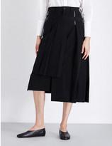 Yohji Yamamoto Pleated wrap wool skirt