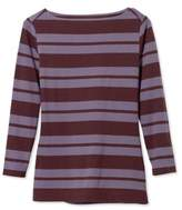 L.L. Bean L.L.Bean Signature Cotton/Modal Top, Three-Quarter-Sleeve Boatneck Double-Bar Stripe