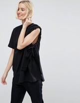 Asos Asymmetric Sleeve T-Shirt With Ruche Detail