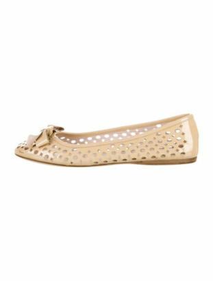 Prada Patent Leather Eyelet Trim Ballet Flats Brown