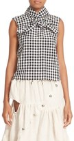 Marques Almeida Women's Marques'Almeida High Neck Knotted Gingham Top
