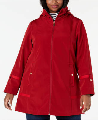 Jones New York Plus Size Hooded Balmacaan Raincoat - ShopStyle