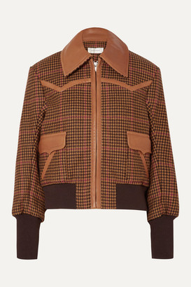 Wales Bonner Leather-trimmed Houndstooth Wool-blend Bomber Jacket - Brown