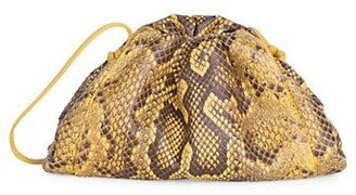 Bottega Veneta Small The Pouch Python-Embossed Leather Clutch