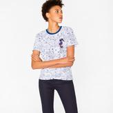 Paul Smith Women's White 'Creature Floral' Print T-Shirt With Seahorse Appliqué