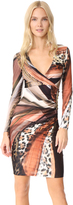 Roberto Cavalli Printed V Neck Dress