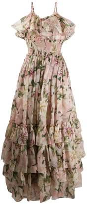Dolce & Gabbana lily-print chiffon dress