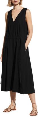 Vince Drawstring Sleeveless V-Neck Dress