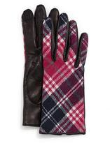 Portolano Plaid Cashmere-Back Leather Gloves
