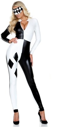 Forplay Women's Metallic Checkered Harlequin Catsuit and Mask