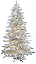 Christmas Time Silverado Pine 6.5-Foot White Flocked Slim Christmas Tree – Warm White Lights