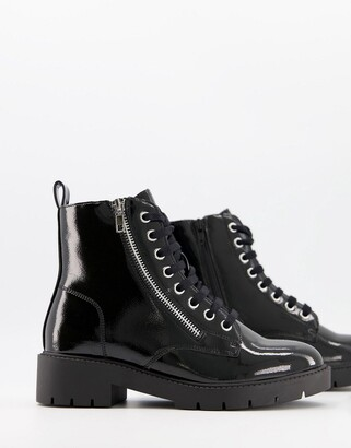 New Look zip detail lace up patent ankle boot in black