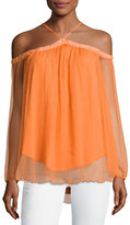 Karina Grimaldi Portezuleo Off-the-Shoulder Chiffon Top, Orange