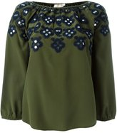 Tory Burch embellished neck blouse - women - Silk/Polyester - 6