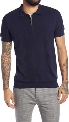 Topman Men's Diamond Stitch Zip Polo