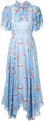 macgraw Swan Print Dress