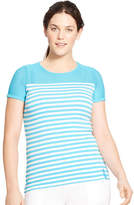 Lauren Ralph Lauren Plus Striped Mesh Yoke Top