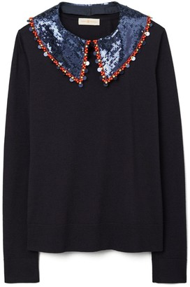 Tory Burch Convertible Embellished-Collar Pullover