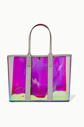Christian Louboutin Cabata Spiked Pvc And Glittered-leather Tote - Clear
