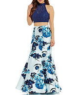 B. Darlin Mock Neck Lace Open-Back Top Two-Piece Floral Trumpet Dress