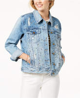 Tinseltown Juniors' Embellished Ripped Denim Jacket