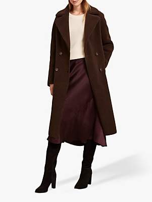 Mint Velvet Long Teddy Coat, Dark Brown