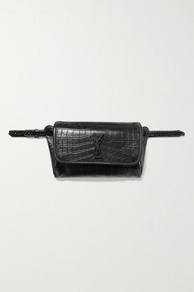 Saint Laurent Niki Medium Glossed Croc-effect Leather Belt Bag - Black
