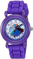 Disney Girl's 'Frozen' Quartz Plastic and Silicone Casual Watch, Color:Purple (Model: WDS000005)