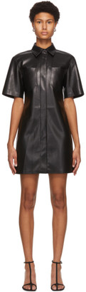 Nanushka Black Vegan Leather Berto Dress