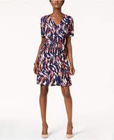 Ellen Tracy Printed Faux-Wrap Dress