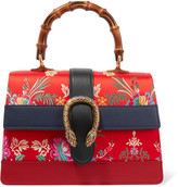 Gucci Dionysus Bamboo Medium Leather And Floral-jacquard Tote - Red