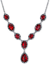 2028 Silver-Tone Red Stone and Pavé Lariat Necklace