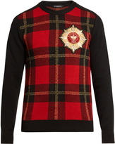 Balmain Badge-embellished tartan sweater