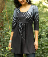 Reborn Collection Women's Tunics Charcoal - Charcoal & Gray Abstract Empire-Waist Tunic - Women & Plus