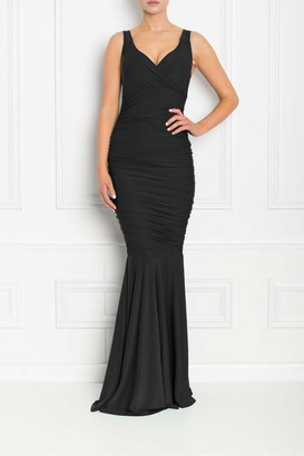 Honor Gold Gabby Black Fishtail Maxi Dress