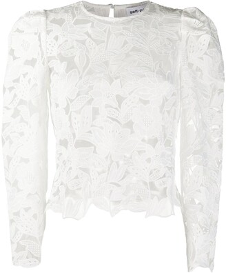 Self-Portrait Leaf Guipure Lace Blouse