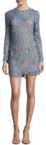 Self-Portrait 3D Floral-Lace Mini Dress, Dove Gray