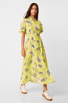 French Connection Andini Drape Printed Midi Shirt Dress