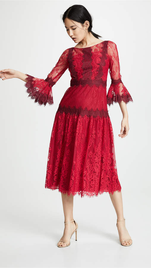 Marchesa Mixed Lace Tea Length Cocktail Dress