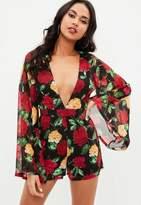 Missguided Black Printed Plunge Kimono Sleeve Romper