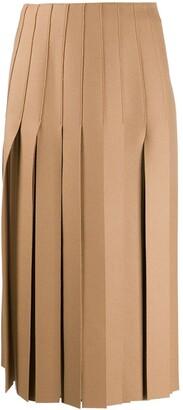 Prada Fringed-Edge Midi Skirt